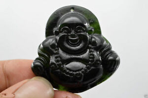 China S Natural Jade Nephrite Carving Black Jade Pendant Buddha