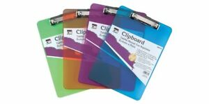 Charles Leonard Transparent Plastic Clipboard With Low Profile Clip And Pull