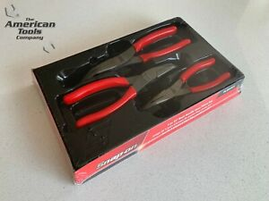New Snap On 3 Pc 35 Bent Needle Nose Red Talon Grip Pliers Set Pl3935cf