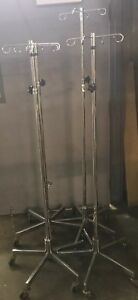 Lot Of 4 Iv Pole Stand 4 Hook Rolling Cart Premium Medical Equip