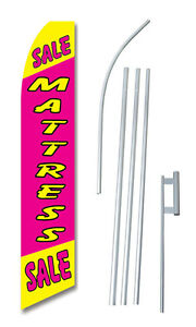 Mattress Sale Pink Tall Advertising Banner Flag Complete Sign Kit 2 5 Feet Wide