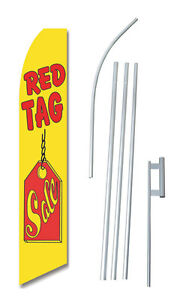 Red Tag Sale Tall Advertising Banner Flag Complete Sign Kit 2 5 Feet Wide Tall