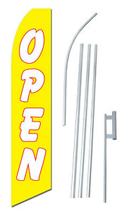 Open Yellow Tall Advertising Banner Flag Complete Sign Kit 2 5 Feet Wide