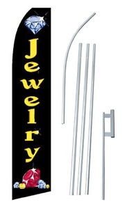 Jewelry Advertising Banner Flag Complete Tall Sign Kit 2 5 Wide