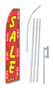 Sale Red Tall Advertising Banner Flag Complete Sign Kit 2 5 Feet Wide