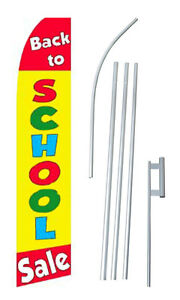 Back To School Sale Advertising Banner Flag Complete Tall Sign Kit 2 5 Wide