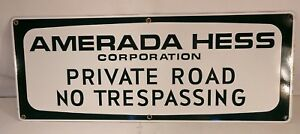 All New Hess Truck Amerada Sign rare Porcelain From Hess Truck Yard Vintage