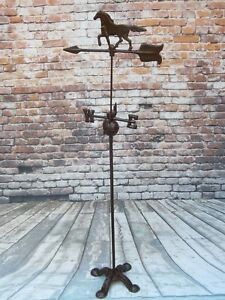 Vintage 4 1 2 Ft Tall Cast Iron Horse Arrow Weathervane On Claw Foot Stand