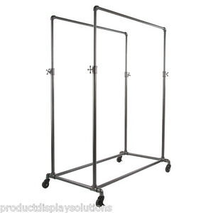 Pipe Pipeline Double Rail Rolling Clothing Display Rack Adj Height Grey