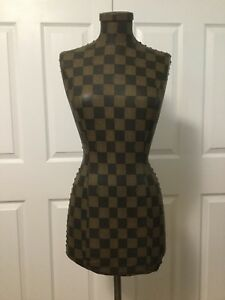 Female Fendi Branded Designer Torso Pattern Dress Form Display W Metal Stand