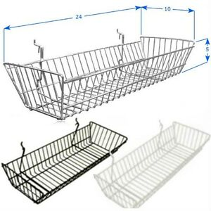 Case Of 6 Slatwall Baskets 24 l X 10 d X 5 l Black White Or Chrome