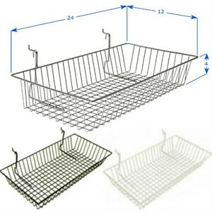 Case Of 6 Slatwall Baskets 24 l X 12 d X 4 h Black White Or Chrome