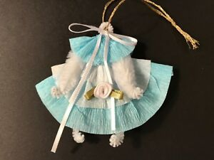Christmas Ornaments Chenille Baby Doll Dress Feather Tree Gift Tag Blue Girl