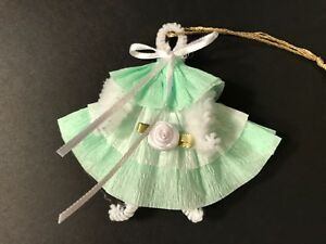 Christmas Ornaments Chenille Baby Doll Dress Feather Tree Gift Tag Green