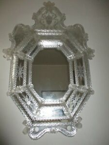 Antique Lrg Murano Etched Venetian Hand Blown Glass Mirror
