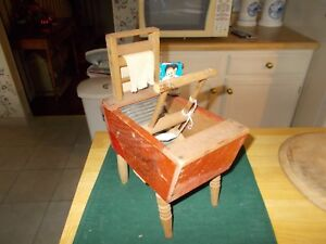 Late 1800s Early 1900s All Wooden Childs Washee Washee Wash Tub On Legs Wringer