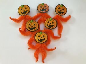 Chenille Halloween Ornaments Vintage Pumpkin Feather Tree Ornament