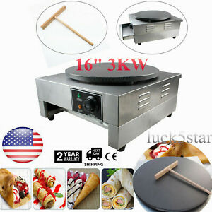 Commercial Electric Crepe Maker 16 3kw Pancake Making Machine Nonstick Griddle