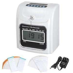 Lcd Attendance Punch Time Clock Office Factory Employee Payroll Recorder W Card