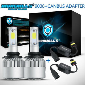 Cree 9006 Hb4 Led Headlight Kit White Car Light Bulbs 6500k With Canbus Adapter