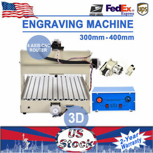 4axis 400w 3040 Cnc Router Engraver Drill Mill Carve 3d Machine Pcb Pvc Stock Us