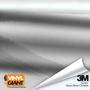 3m 1080 Gc451 Gloss Silver Chrome 60in Wide Vinyl Vehicle Car Wrap Film Roll