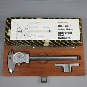 Brown Sharpe Dial Caliper With Attachment Instructions Wooden Case 599 579 3