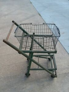 Vintage 1930s Wooden Folding Shopping Cart grocery Basket