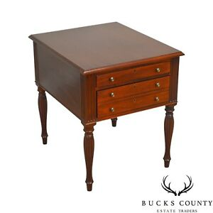 Custom Mahogany Sheraton Style 3 Drawer Side Table