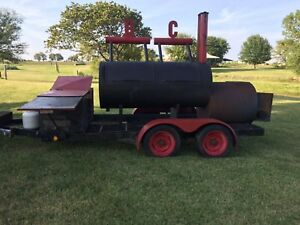 Large Custom Built Bbq smoker On Tandem Axle Trailer
