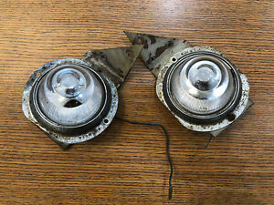 Vintage Pair Sparton Clearance Signal Marker Beehive Lights Glass Lenses