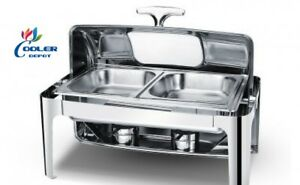 New Two Pan Electric Chafer Chafing Dish W Window Buffet Catering Ss Warmer