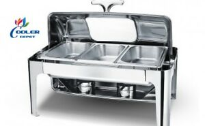 New Three Pan Electric Chafer Chafing Dish W Window Buffet Catering Ss Warmer