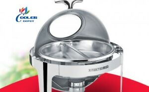 New Round Two Pan Electric Chafer Chafing Dish Window Buffet Catering Ss Warmer