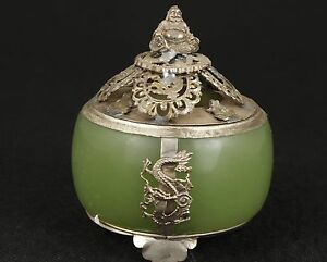 China Old Jade Hand Armored Copper Buddha Dragon Ornament Incense Burner