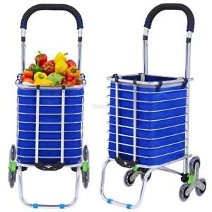 Urban Stair Climbing Cart Folding Grocery Laundry Shopping Handcart 6 Wheels