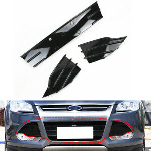 Front Hood Lower Grilles Grills Shiny Black For Ford Escape 2013 2014 2015 2016