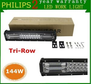 7d Tri row 12inch 144w Philips Spot Flood Led Work Light Bar Off road Truck Ford
