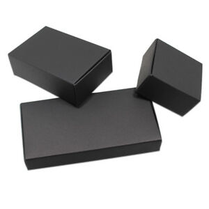 50x Black Foldable Kraft Paper Box Wedding Favor Party Gift Candy Jewelry Pack