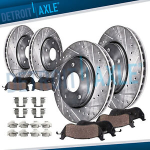 For 2009 2017 Nissan Maxima Front Rear Drilled Rotors Ceramic Brake Pads Set