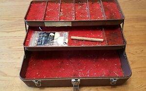 Brown metal tackle reloading ammo tool box padded decor shabby display 15