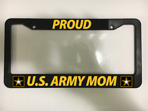Proud Us Army Mom Usa Soldier Armed Forces United Black License Plate Frame New