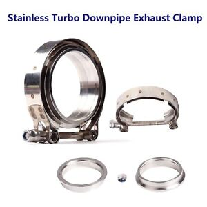 3 76mm Stainless V Band Bolt Clamp 2 Flange For Turbo Down Pipe Exhaust