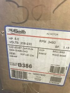 5 Hp 230v 3450 Rpm Electric Motor A O Smith New