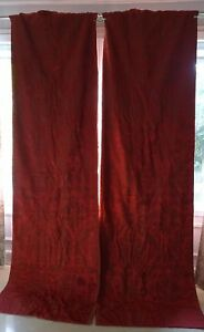 Antique French Pair Of Red Old Silk Damask 19th Century Curtain Drape Backed