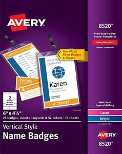 Avery 8520 Vertical Name Badges Durable Plastic Holders Lanyards Inserts 25