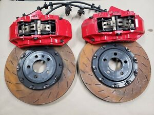 2015 2018 Dodge Charger Brembo Front Brakes Calipers Red 6 Piston Slotted Rotors