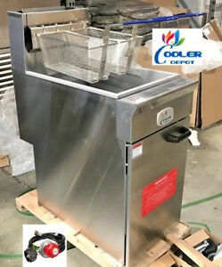 New Commercial Natural Propane Lp 40lb Stainless Steel Floor Deep Fryer Nsf