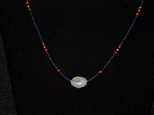 Pre Columbian Chalcedony Pendant Bead With Sapphires Coral And Gold Necklace