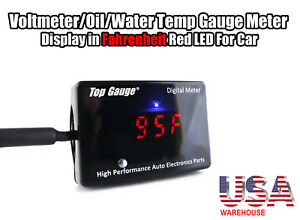 Top Gauge Car Digital Fahrenheit Voltmeter oil water Temp Gauge Meter Red Led Us